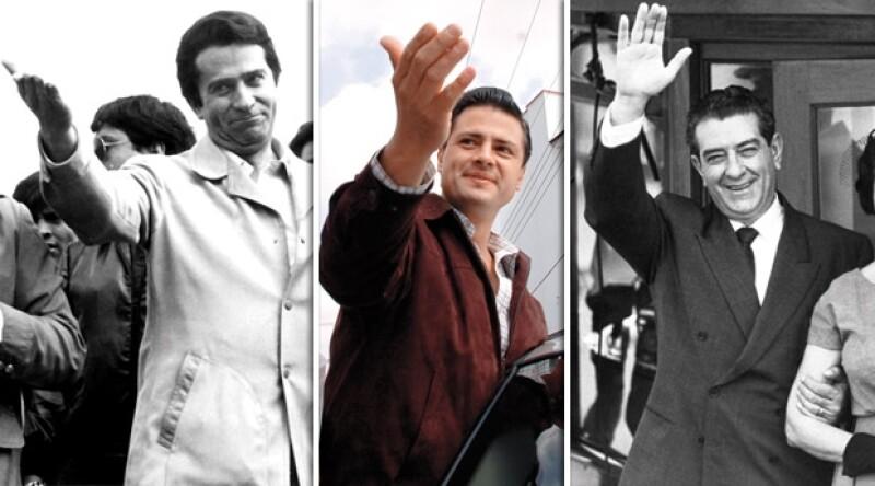 MISMO ESTILO POLÍTICO. De izq. a der.: el ex gobernador mexiquense Alfredo del Mazo González, el actual candidato presidencial Enque Peña Nieto y el ex presindete Adolfo López Mateos, admirado por Peña Nieto.