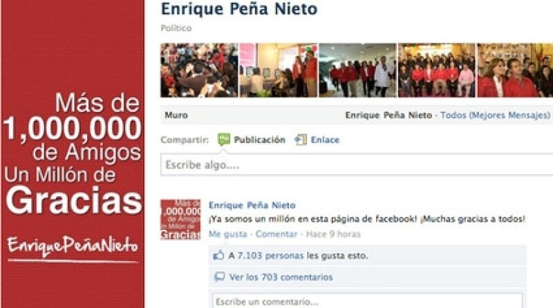 El Gobernador del Estado de México se une a la lista de famosos que van a la cabeza en redes sociales, en este caso Facebook. Además fue felicitado por su esposa, Angélica Rivera.