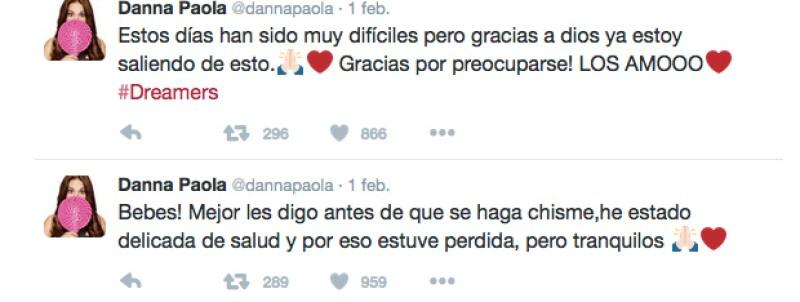 La cantante reveló su estado de salud a través de sus redes sociales.