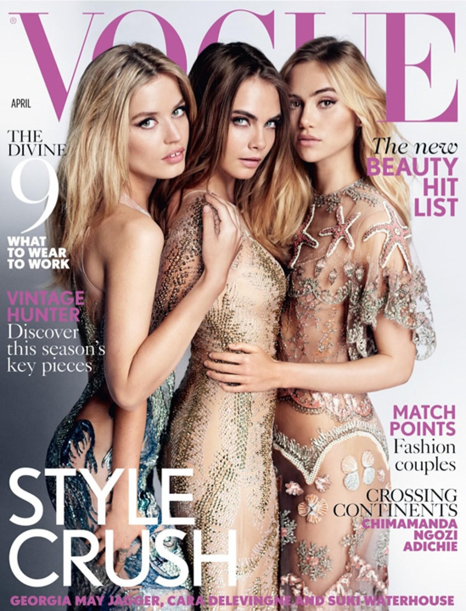 Las mejores amigas Suki Waterhouse, Cara Delevingne y Georgia May Jagger, fueron fotografiadas por Mario Testino para la portada de Vogue UK.