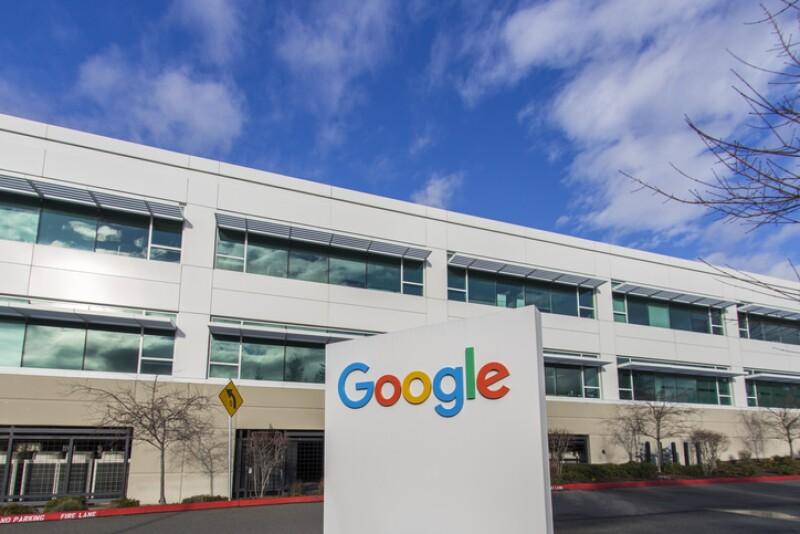 Google sign near the entrance of a Google building