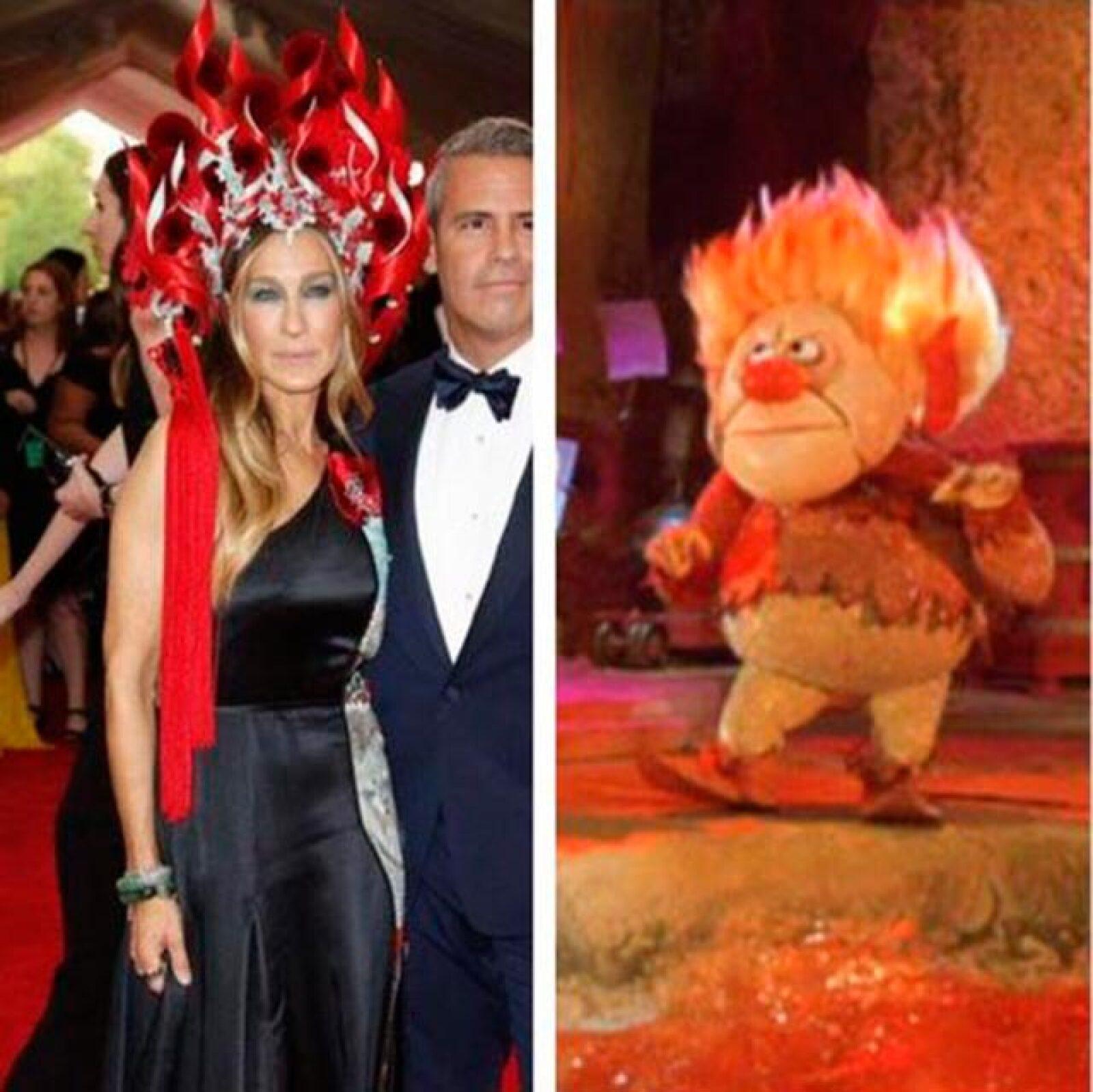 El vistoso accesorio de la actriz también fue comparado con la alborotada melena de Heat Miser.