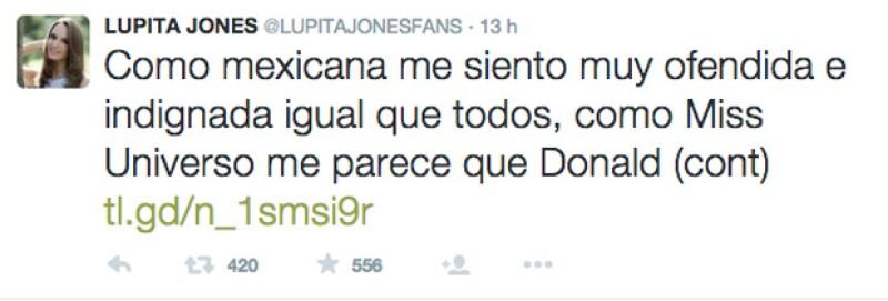 La ex Miss Universo expresó a través de su Twitter lo ofendida que se siente ante los comentarios de Trump, reiterando que México no concursará en Miss Universo.