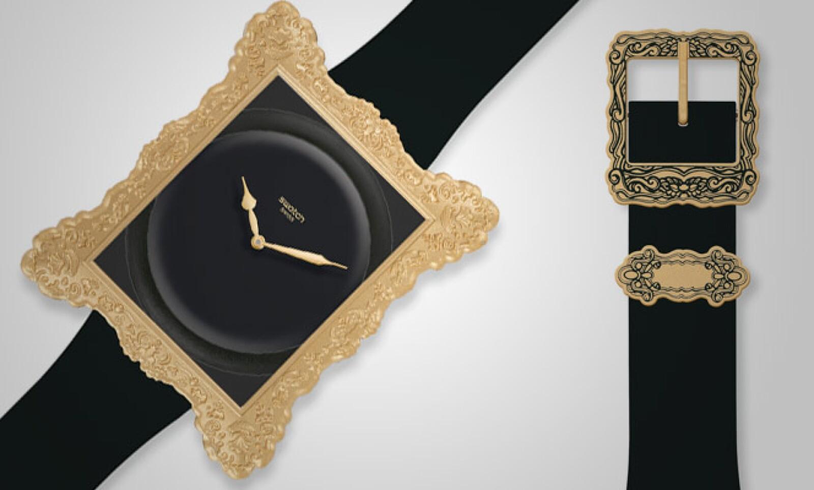 La última pieza del diseñador estadounidense retoma el aspecto 'kitch' de la marca. El modelo, 'Swatch Opulence'.