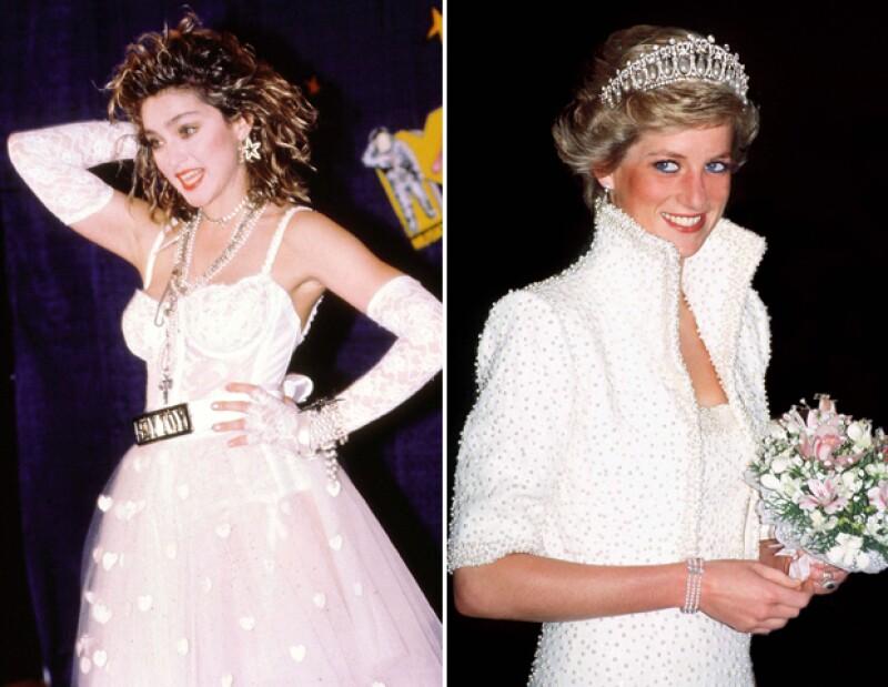 Madonna y Lady Di, aunque sumamente diferentes entre ellas, protagonizaron el estilo de los 80.