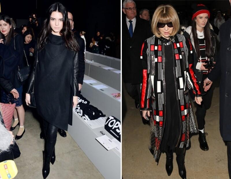 En esta ocasión, Kendall optó por un look sobrio, en cambio Wintour agregó color a su outfit.