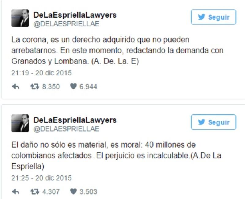 En varios tuits, el bufete de abogados informó que interpondrá una demanda a Miss Universo.