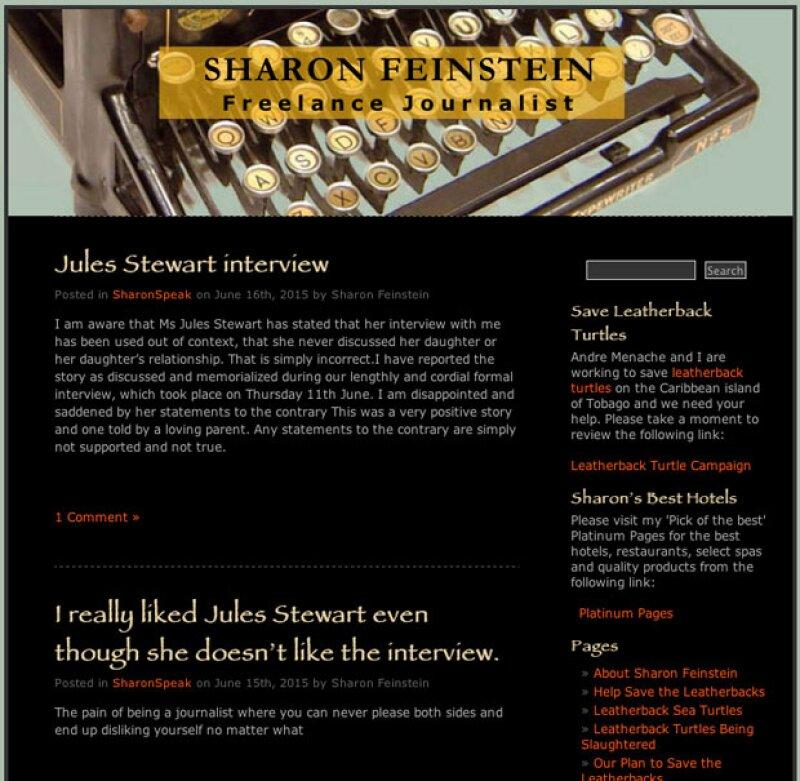 Esta es la entrada que se puede leer en el blog de la periodista británica Sharon Feinstein.