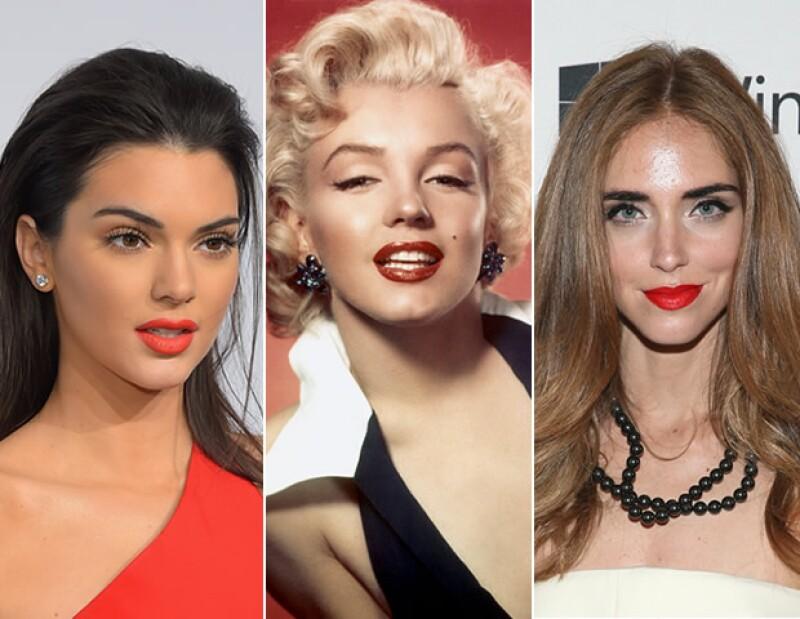 Marilyn Monroe es la clásica imagen de los labios rojos. Hoy, Kendall Jenner y Chiara Ferragni son fanáticas.