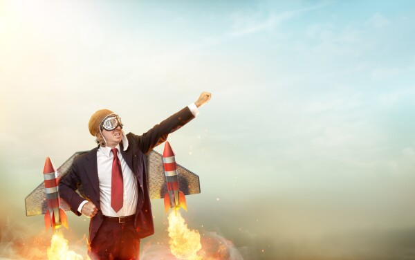 Aviator Businessman With Jetpack On His Back - Startup Concept