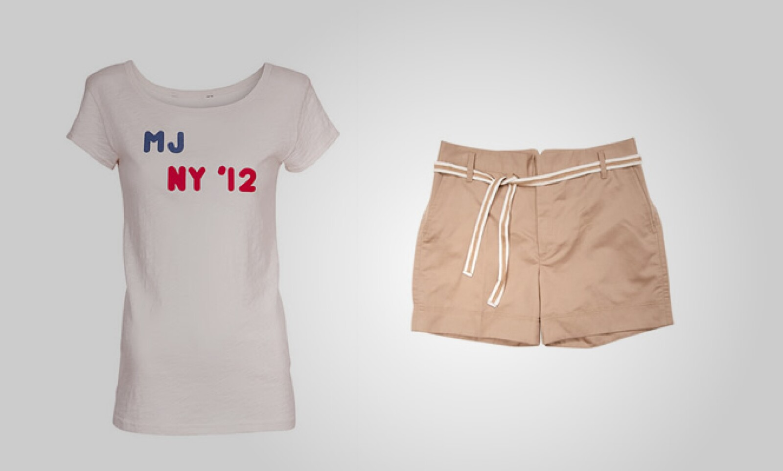 Si necesitas algo para el fin de semana, te proponemos este coordinado de playera de algodón con pequeños shorts ajustables a la cadera.
