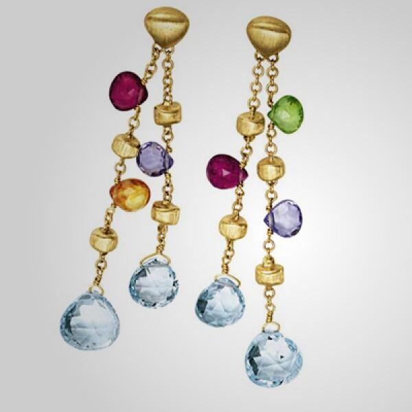Marco Bicego diseñó este juego de aretes Jaipur, con detalles de piedras preciosas y oro.