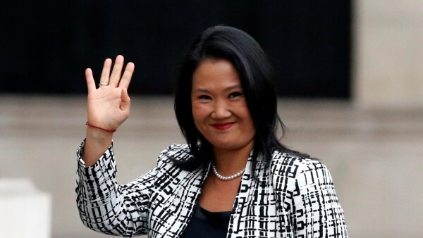 Peru's opposition leader Keiko Fujimori arrives to the government palace to meet President Pedro Pablo Kuczynski in Lima, Peru
