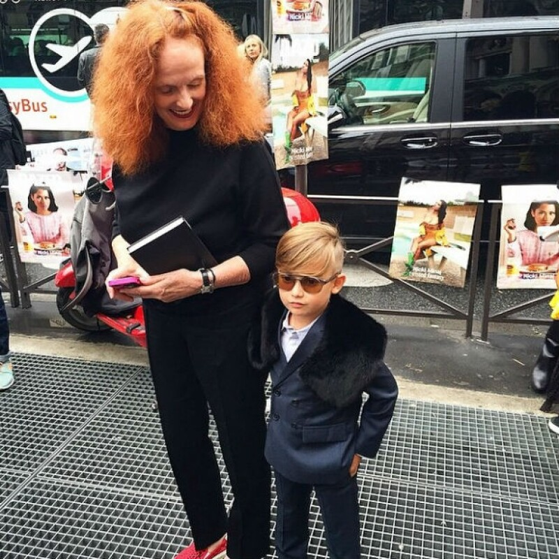 Grace Coddington se encontró con Alonso Mateo en Paris Fashion Week.