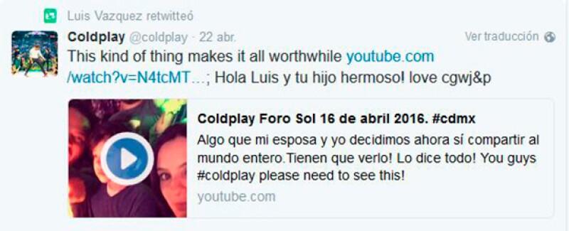 Incluso Coldplay ya sigue a Luis Vázquez en Twitter.