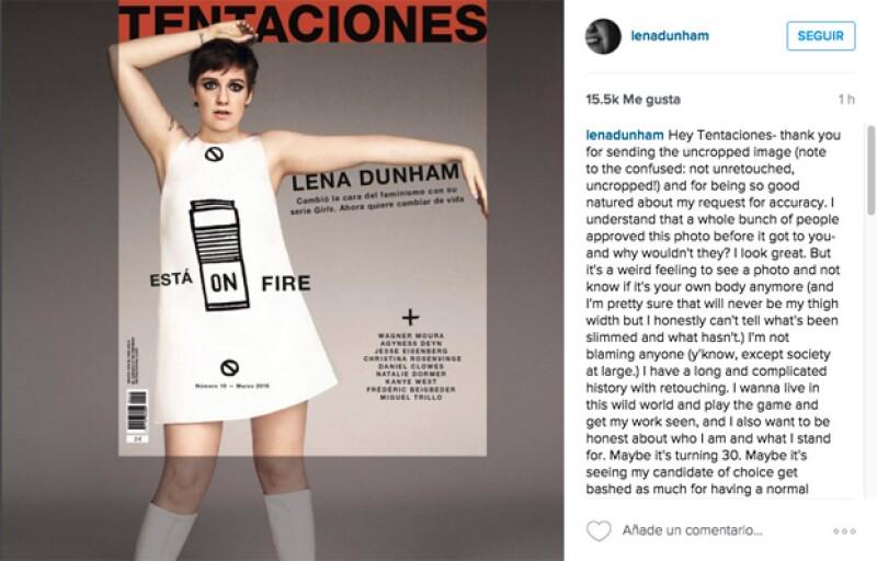 Lena mostró la foto que le enviaron donde su cuerpo no había sido cortado, sin embargo, la edición para hacerla ver más delgada seguía.