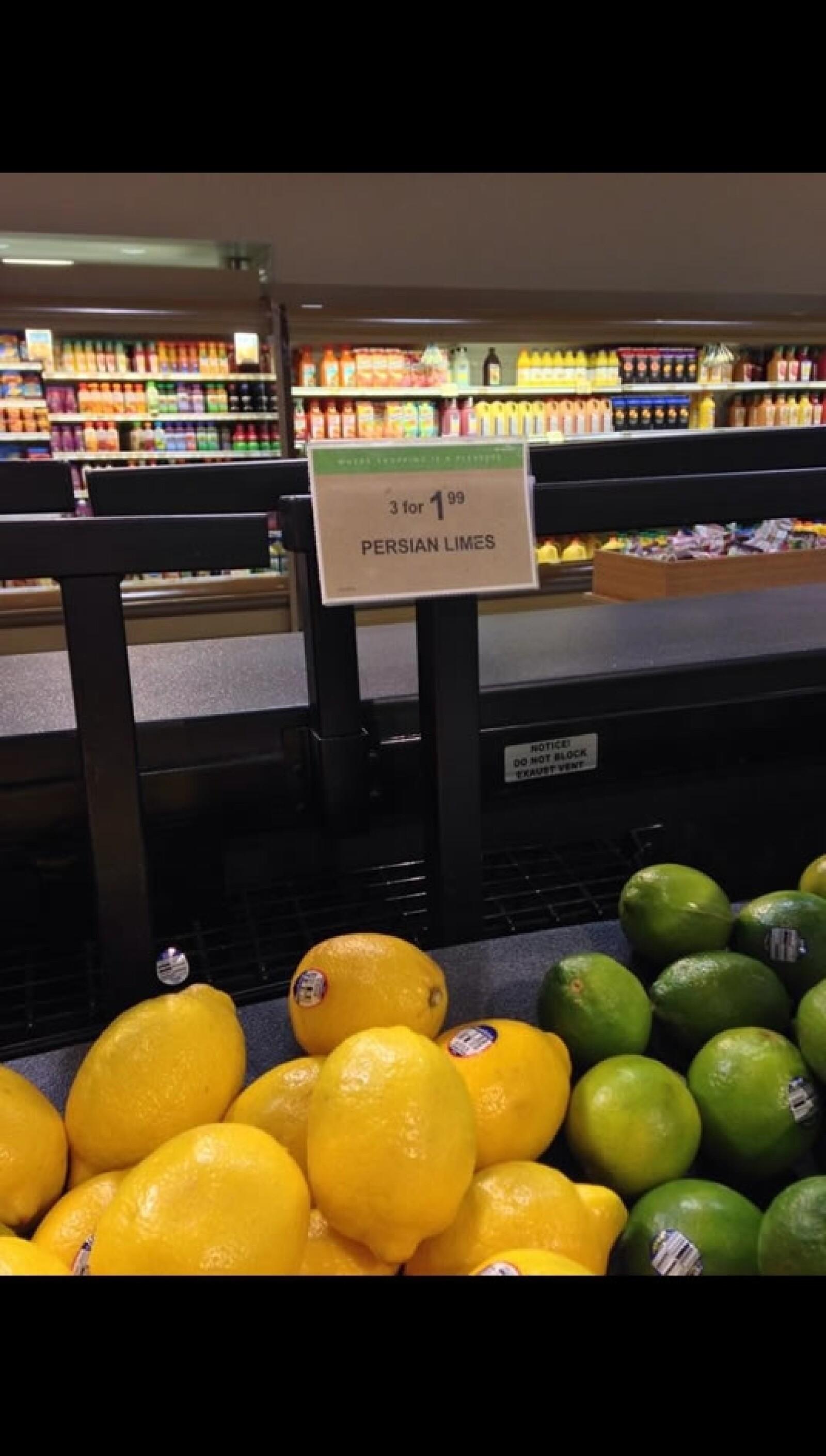 En el supermercado Publix, en el barrio de Buckhead en Atlanta, los limones verdes tipo mexicano cuestan 3 por 1.99 dólares