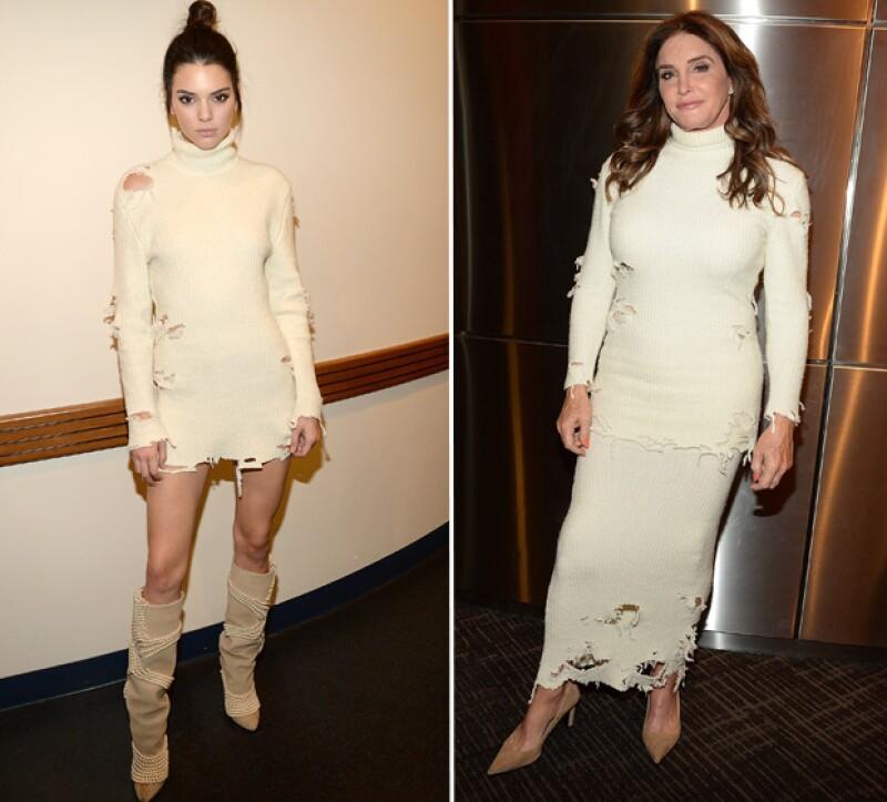 La modelo y Caitlyn Jenner lucieron el mismo vestido de punto.