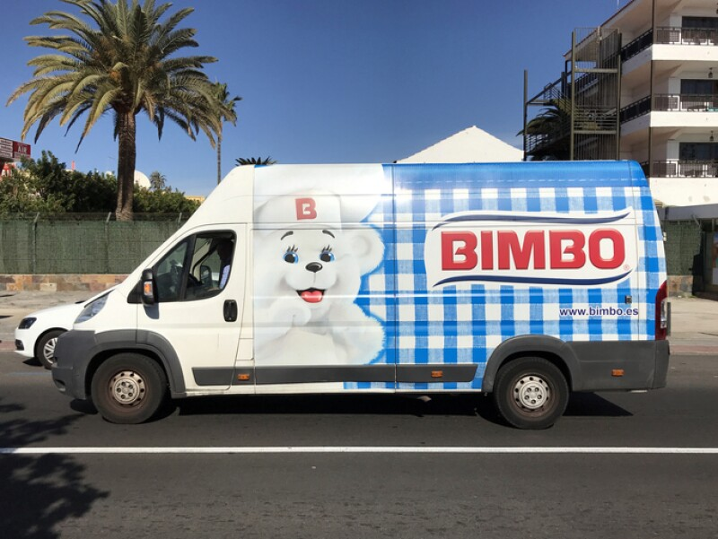 Bimbo delivery van, and unknown and unrecognizable driver