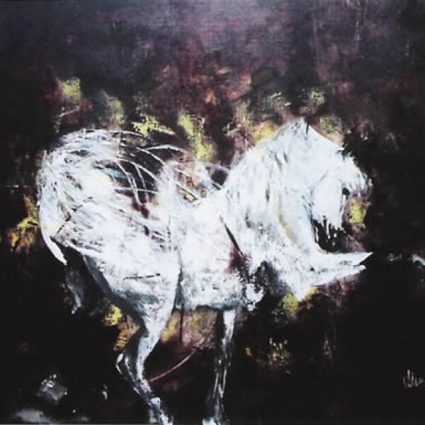 """Los caballos han sido un tema recurrente recientemente. """"El Tordillo"""", mixta sobre tela, 1.60 x 1.90 m"""