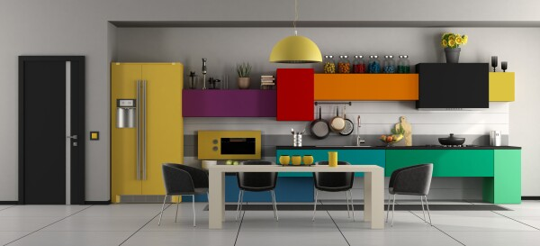 Colorful modern kitchen with table and chairs