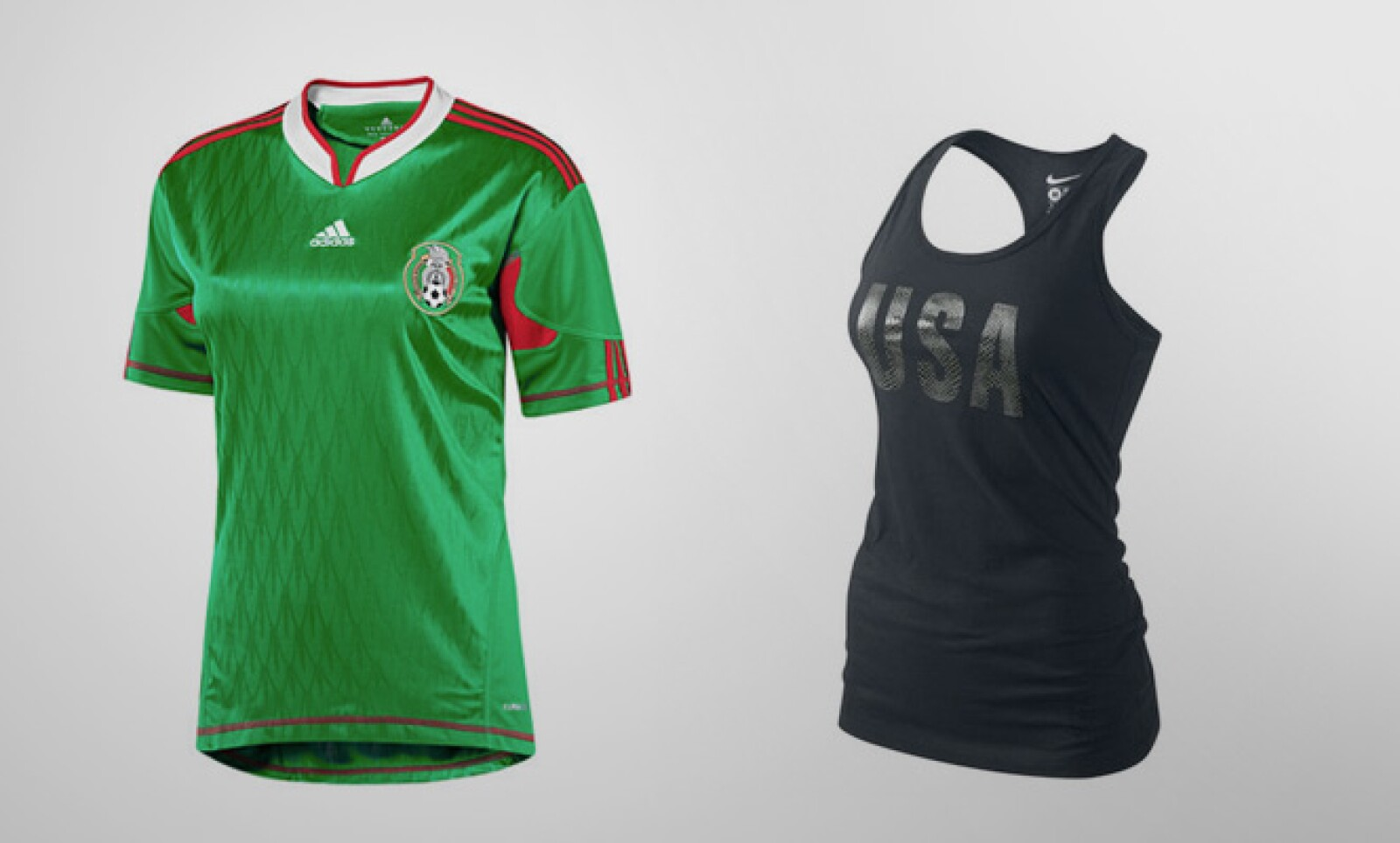 Las mujeres también tienen opciones para apoyar a su equipo favorito. La casaca mexicana tiene un costo de 42 dólares, mientras que la playera de EU cuesta 27 dólares.