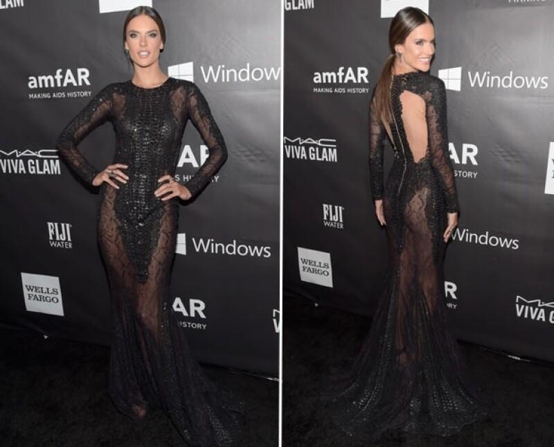 Las cantante y la modelo fueron las tres celebridades que acaparon la atención con sus sexys elecciones en la gala benéfica pro de la lucha contra el VIH.