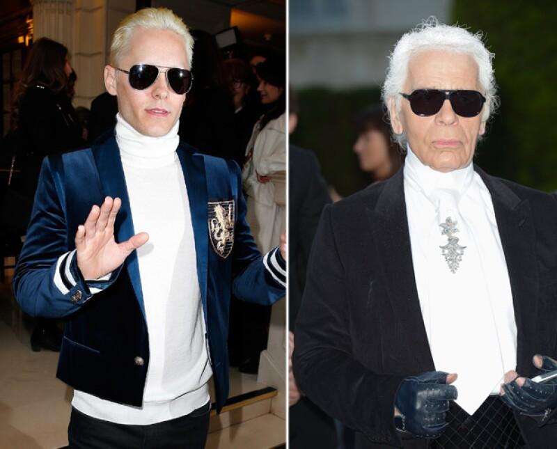 Durante la semana de la moda en París, el actor se dejó ver en la pasarela de Lanvin en un look que nos recordó a la forma de vestir del káiser de la moda.