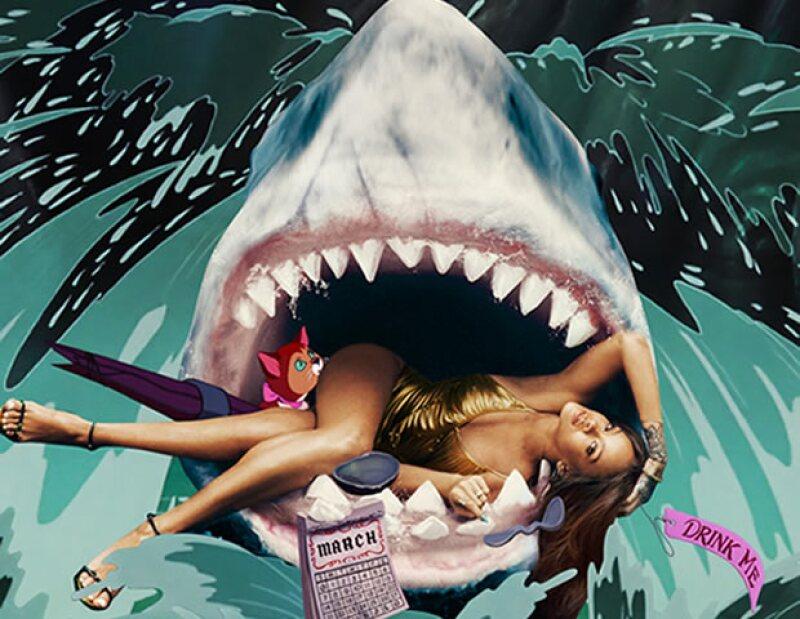 Rihanna en el set de Alice in Wonderland