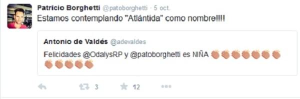 Con este tuit y otros más, Patricio dio a conocer en sus redes sociales que tanto él como su pareja estaban esperando una niña.