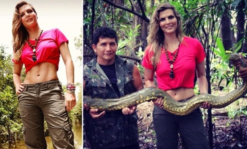 Muy emocionada, la conductora presumió el momento en que encontraron al letal reptil en la selva amazónica, además de su cuerpazo.