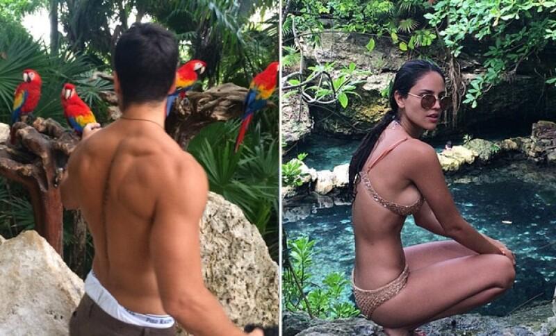 El actor compartió varias fotos de su viaje con Eiza a Cancún.