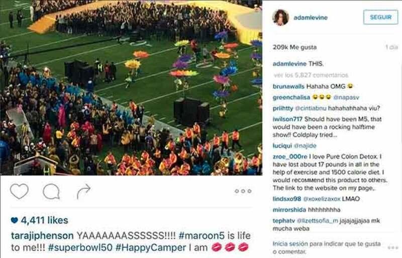Con sentido del humor, Adam Levien, líder de Maroon 5, compartió la prueba del error.