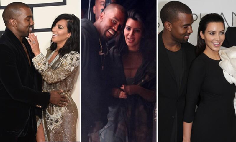 Pocas ocasiones Kanye se permite mostrar una sonrisa, pero en su mayoría es con Kim cuando la esboza.