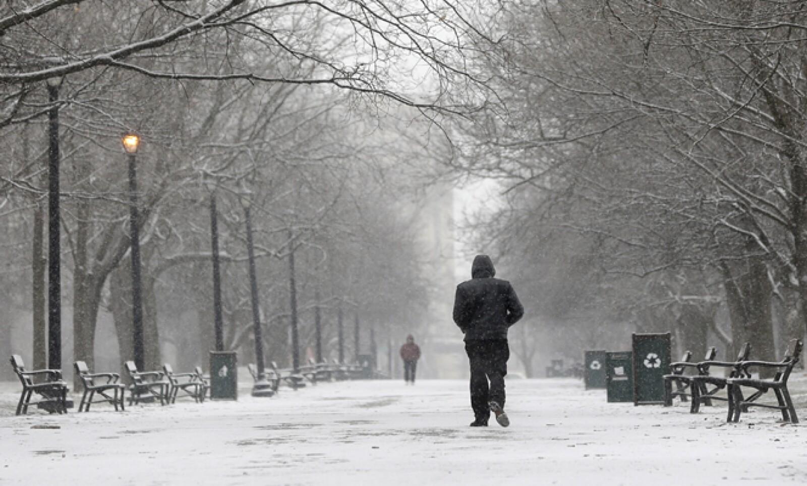 Autoridades estadounidenses han clausurado varias vías debido a la cantidad de nieve. Un hombre camina en un parque de Albany, Nueva York.