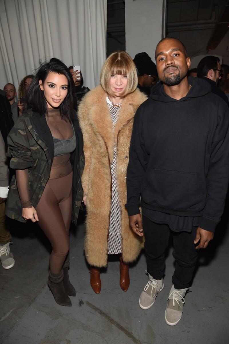 Kim, Anna Wintour y Kanye West en la reciente Semana de la Moda de Nueva York.