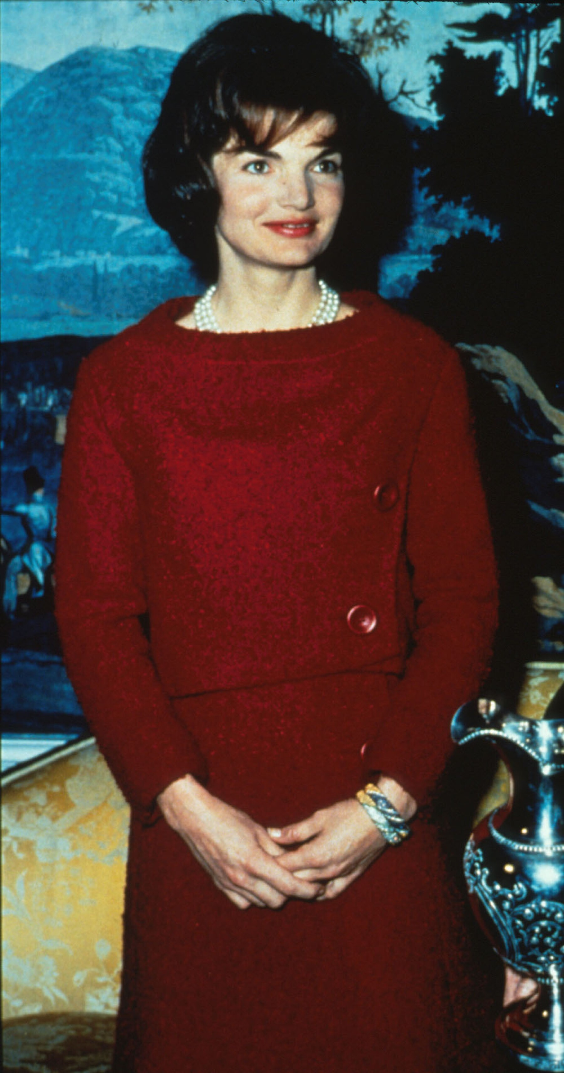 First Lady Jacqueline Kennedy Wears A Chez Ninon Two Piece Day Dress February