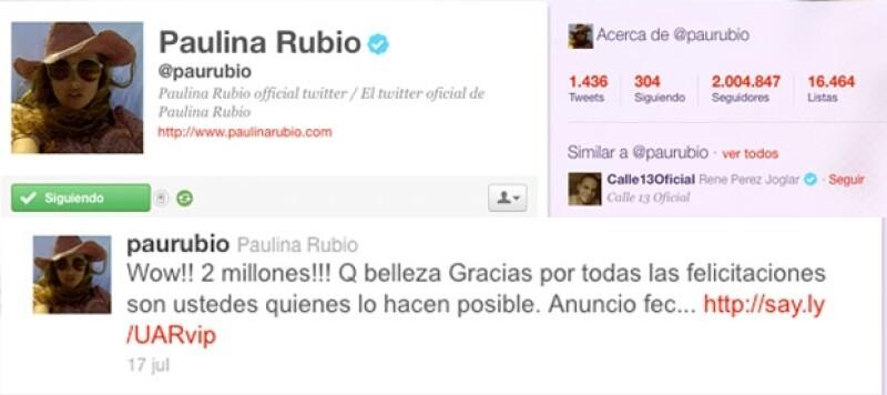Paulina Rubio agradeció a sus seguidores por este hecho.