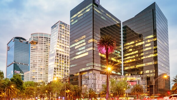 Financial district on Paseo de la Reforma in downtown Mexico City