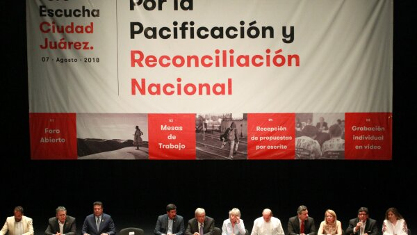 Mexico's President-elect Andres Manuel Lopez Obrador kicks off the First Pacification and Reconciliation Forum, aimed at promoting peace in the country, in Ciudad Juarez