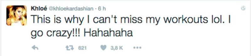 Finalmente Khloé puso fin a su serie de tuits con esta publicación en la que se excusa por no haber hecho ejercicio.