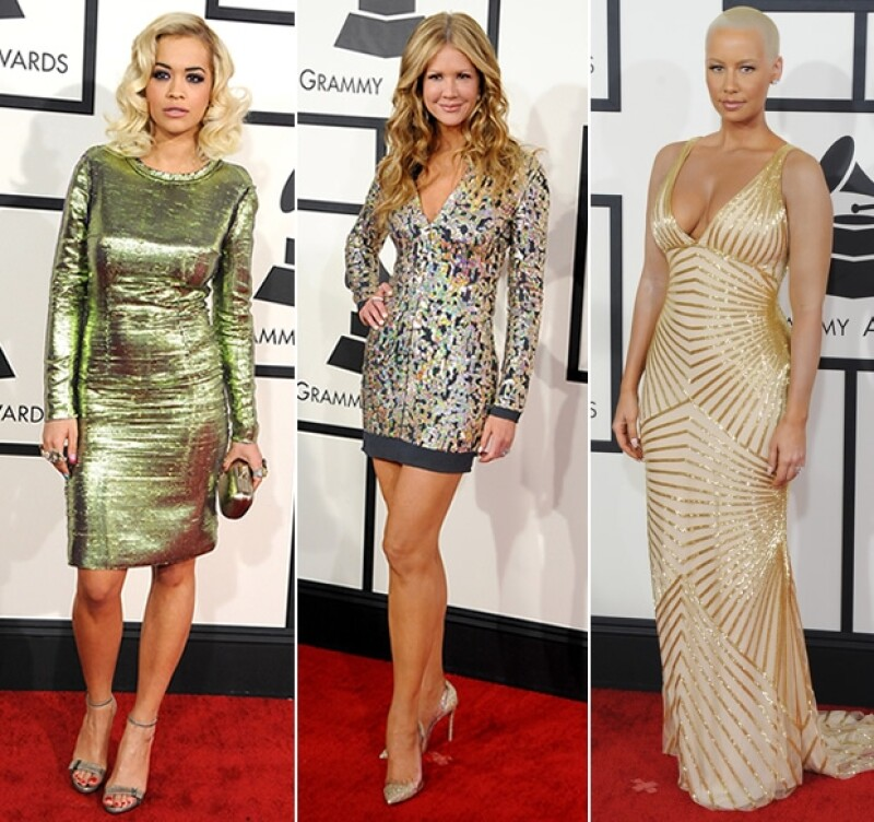 Rita Ora, Nancy O´ Dell y Amber Rose llevaron diseños metálicos a la red carpet del Grammy 2014.