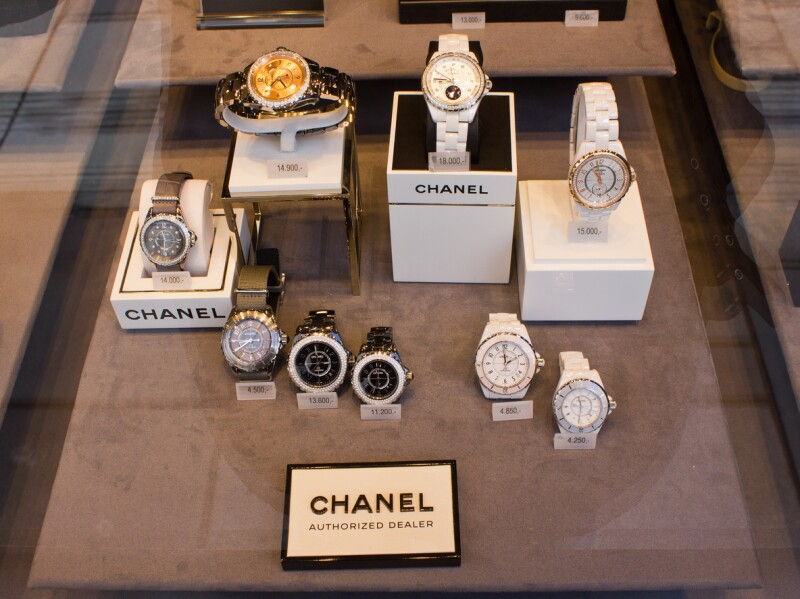 Chanel Watch In Shop Window Display
