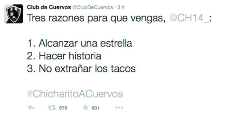 Estas son las razones por las que Chicharito tiene que integrarse al equipo, según el Club de Cuervos.