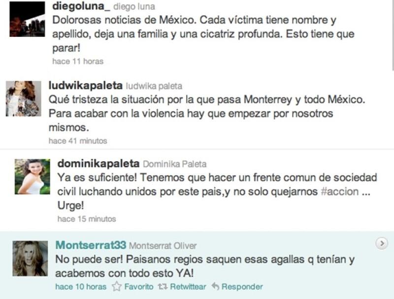 Diego Luna, Montserrat Oliver y las hermanas Paleta hicieron un llamado para reestablecer la paz en el país.