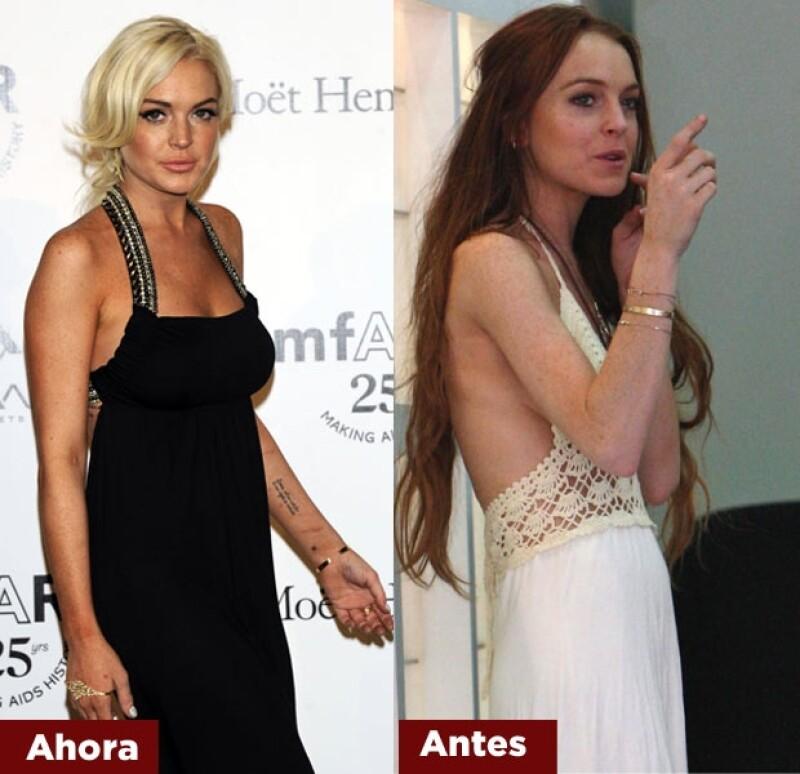 Lindsay Lohan ya se ve un poco mejor que cuando perdió peso.
