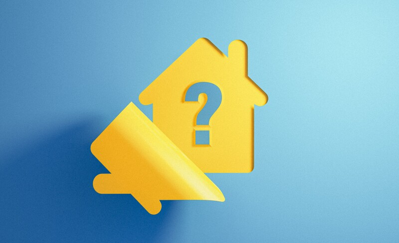 Yellow House Icon on Blue Background