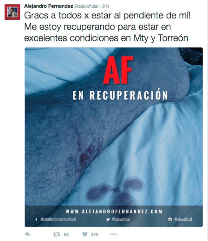 Con esta imagen, Alejandro informó a sus fans que a pesar del accidente se encontraba bien.