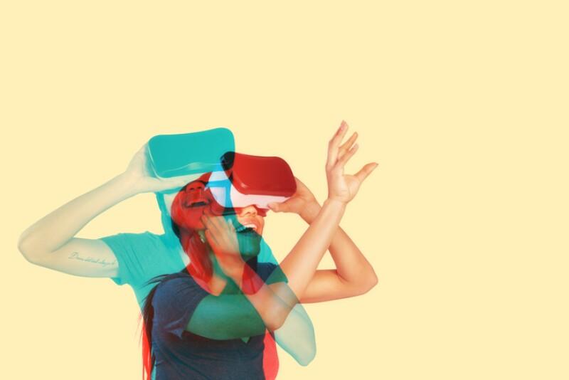 Young woman inside virtual reality