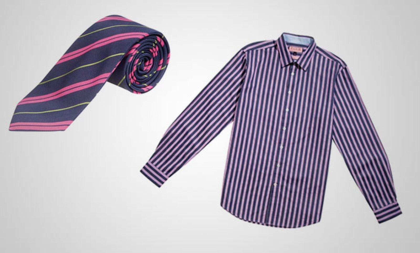 Un estilo más atrevido, con esta camisa a rayas dobles y una corbata que combina sutilmente el color rosa con el verde.